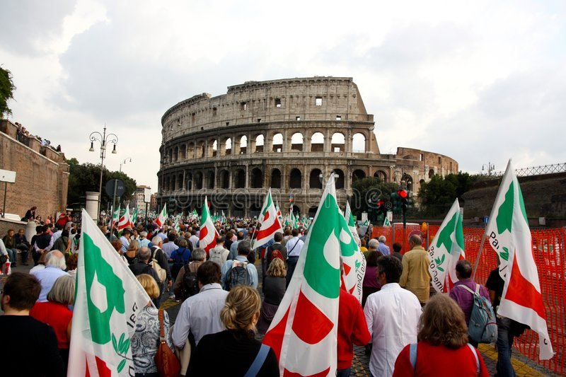 PD (Democratic Party) Rally in Rome. Event: Italy's PD (Democratic Party) Rally in Rome in a protest against the conservative government Date: 25th royalty free stock image