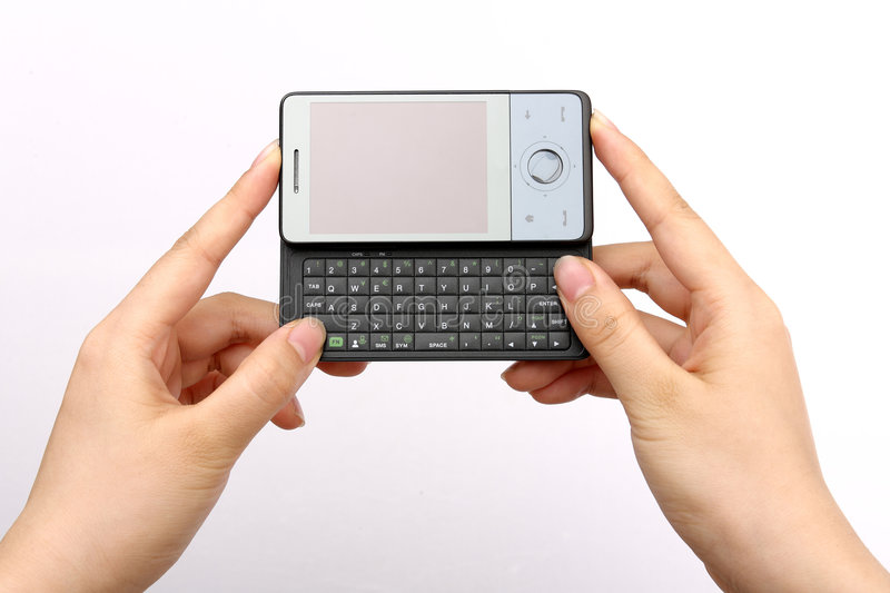 Download PDA in hand stock image. Image of mobile, isolated, keys - 7534867