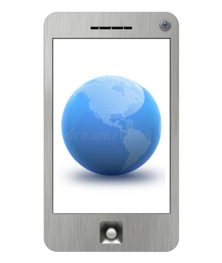 Download PDA Phone With Isolated Display And Blue Globe Royalty Free Stock Images - Image: 12252199