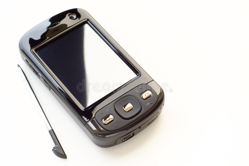 Pda and stylus. Isolated over white background royalty free stock photo