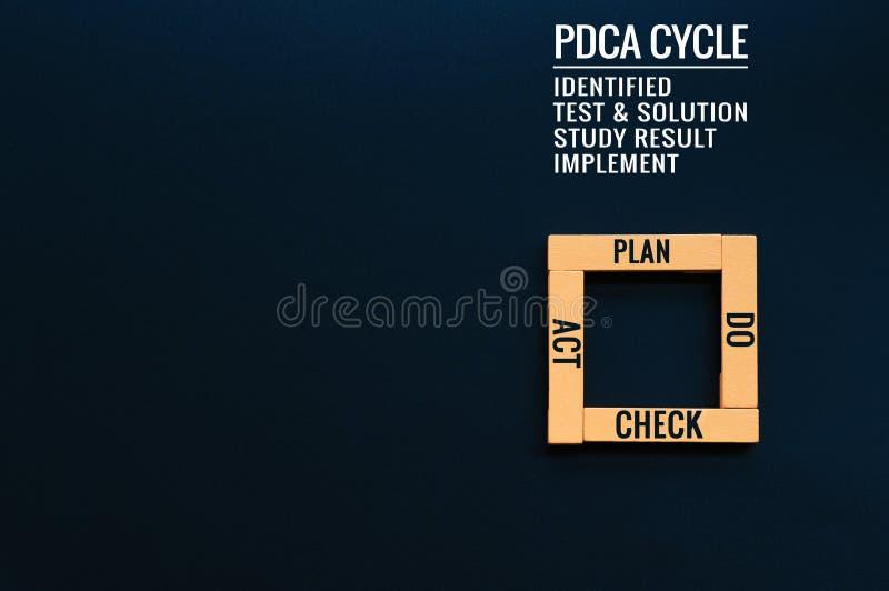 PDCA cyklu proces ulepszenie, plan działania strategia drewniany kwadrat na czarnych tło z teksta planem, czek i akt zdjęcia royalty free