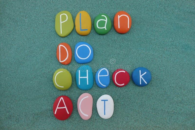 PDCA, Plan, tun, überprüfen, fungieren, die Geschäftsführungsmethode, die mit farbigen Steinen über grünem Sand verfasst wird lizenzfreie abbildung
