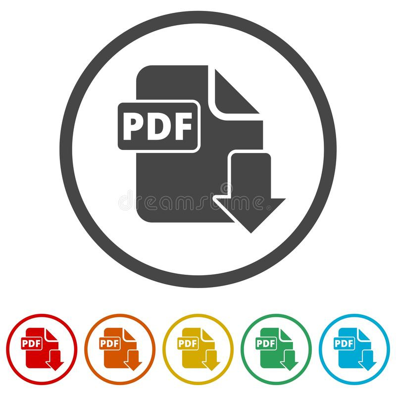 PDF数字式文件格式平的传染媒介象,传染媒介pdf下载标志,包括的6种颜色 库存例证
