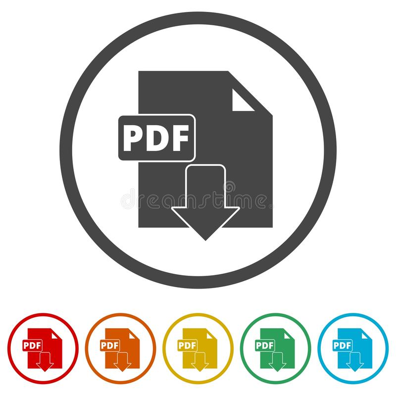 PDF数字式文件格式平的传染媒介象,传染媒介pdf下载标志,包括的6种颜色 皇族释放例证