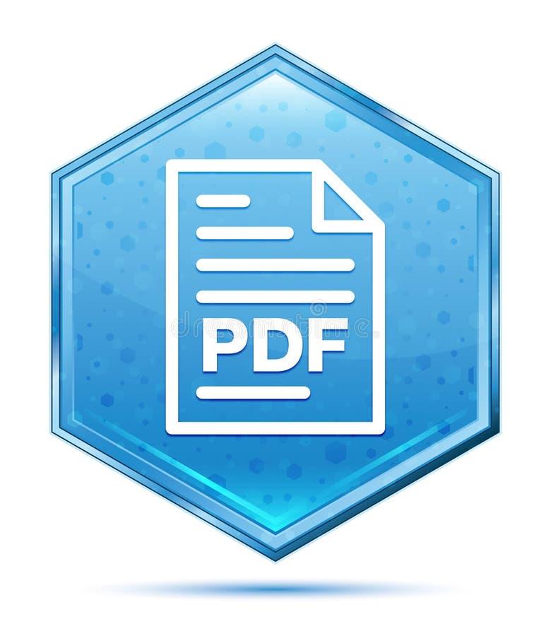 PDF文件页象水晶蓝色六角形按钮 库存例证