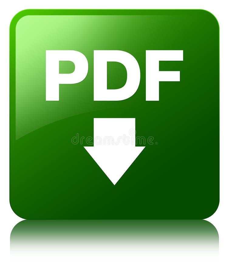 PDF ściągania ikony zieleni kwadrata guzik ilustracji