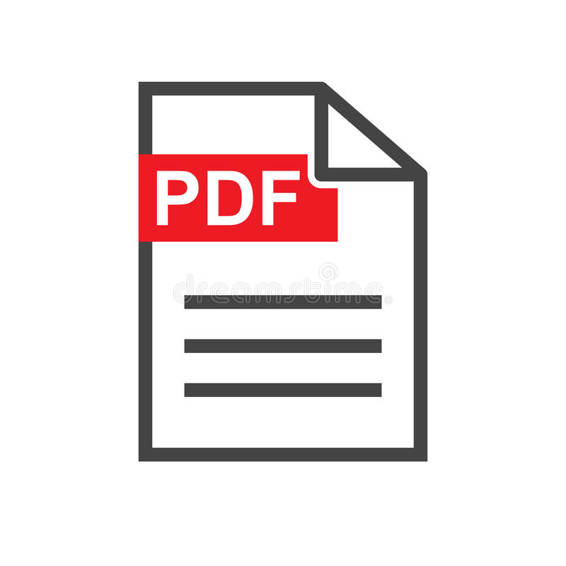 Pdf ściągania wektoru ikona Prosty płaski piktogram dla biznesu, ma ilustracja wektor