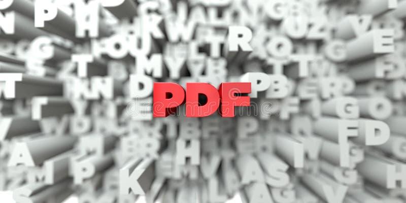 PDF -在印刷术背景的红色文本- 3D回报了皇族自由储蓄图象 皇族释放例证