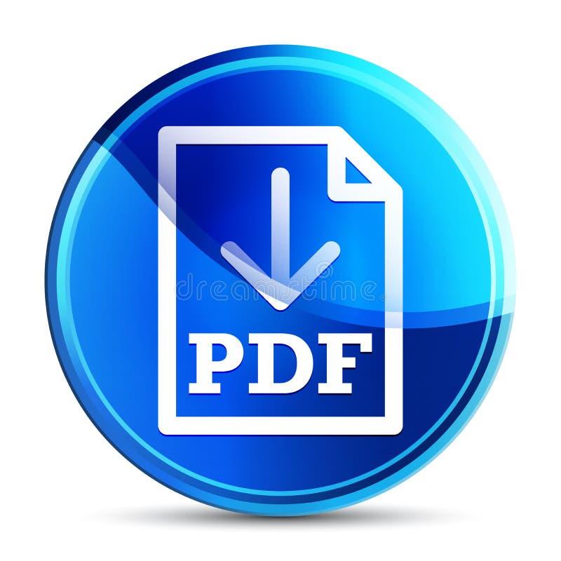 PDF document download icon glassy vibrant sky blue round button illustration. PDF document download icon isolated on glassy vibrant sky blue round button vector illustration