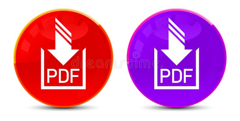 PDF document download icon glossy round buttons illustration royalty free illustration