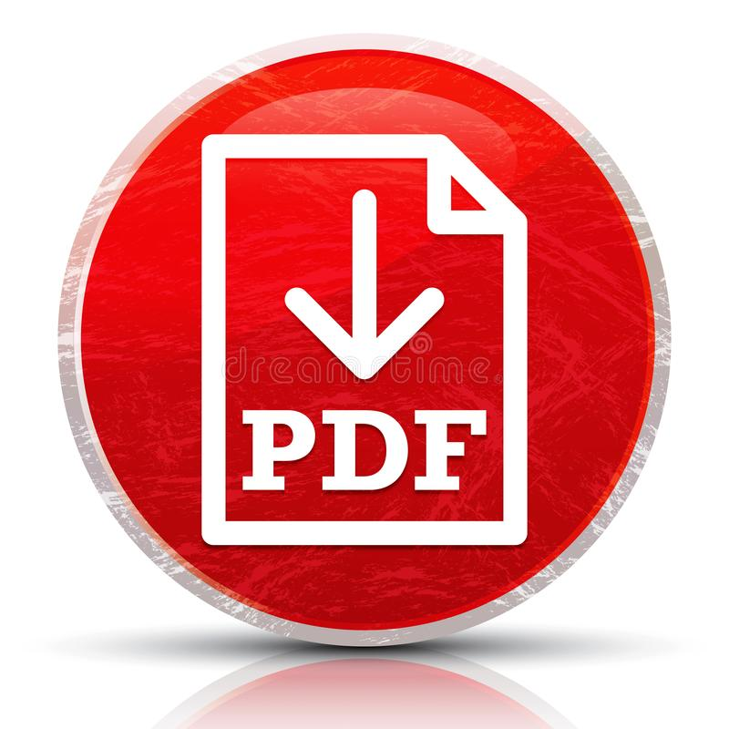 PDF document download icon metallic grunge abstract red round button illustration. PDF document download icon isolated on metallic grunge abstract red round royalty free illustration