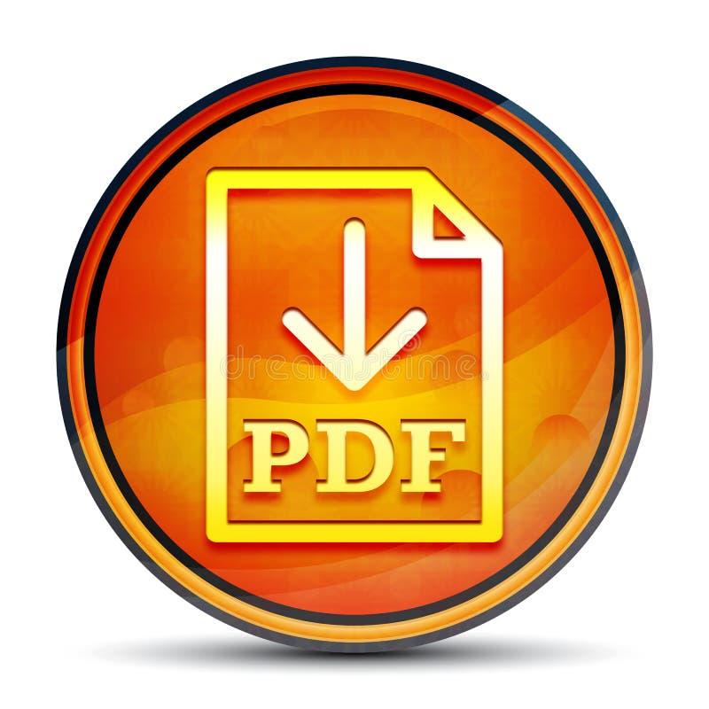 PDF document download icon shiny bright orange round button illustration. PDF document download icon isolated on shiny bright orange round button illustration royalty free illustration