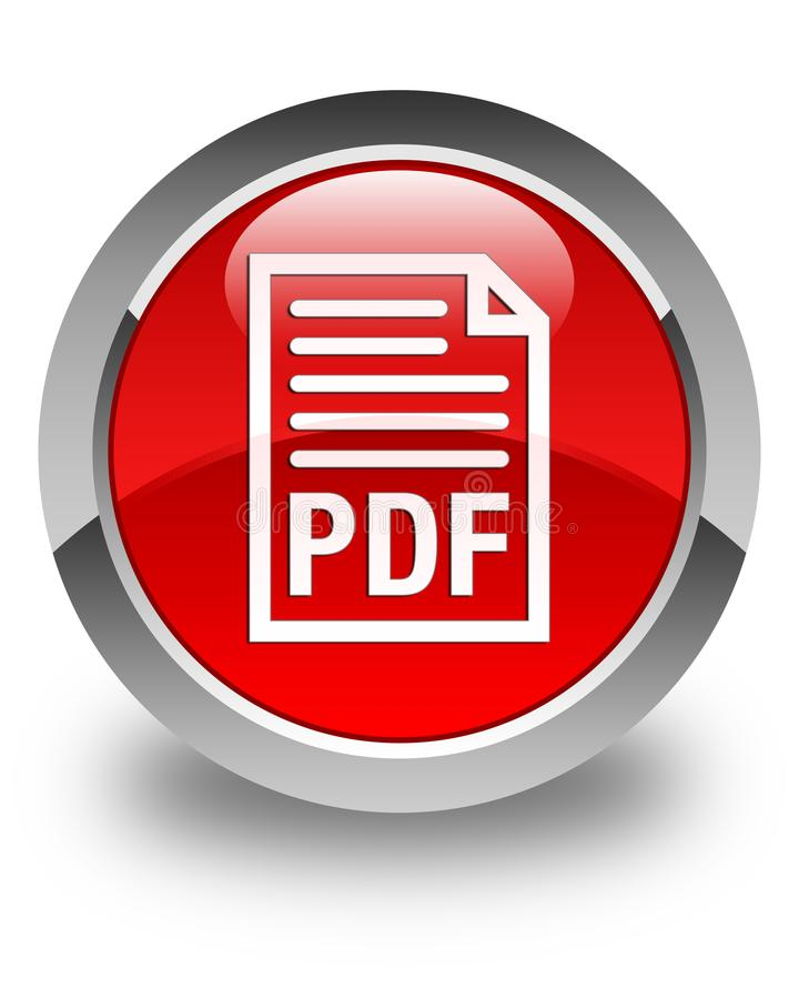 PDF Document Icon Glossy Red Round Button Stock