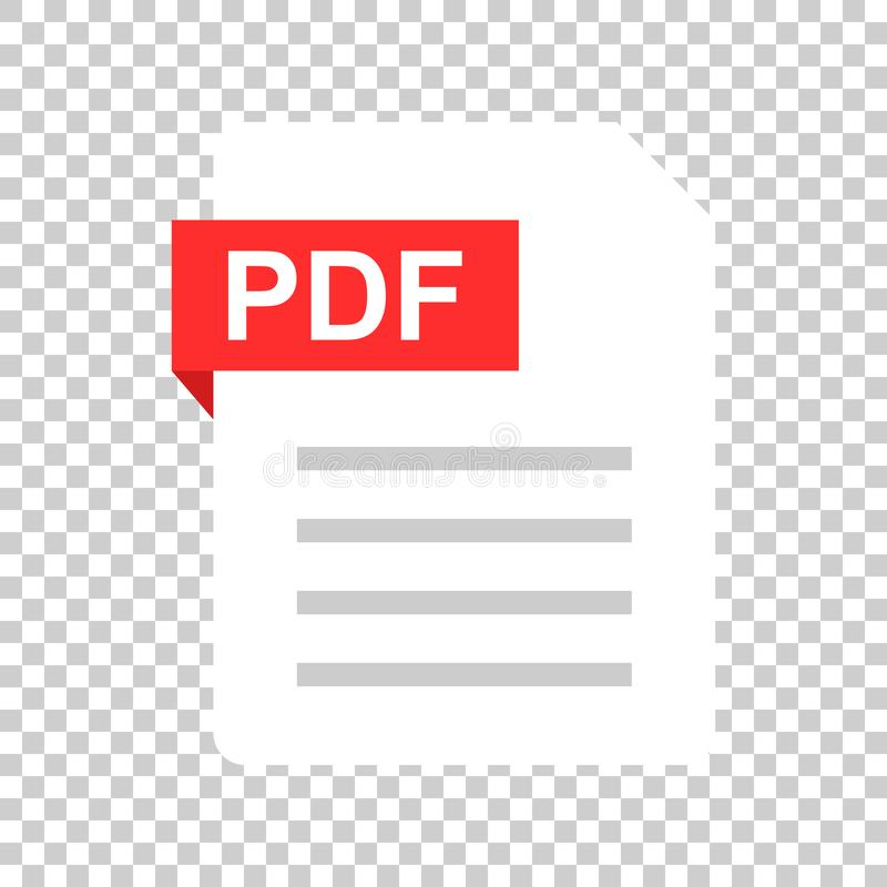 Pdf document note icon in flat style. Paper sheet vector illustration on isolated background. Pdf notepad document business. Concept stock illustration