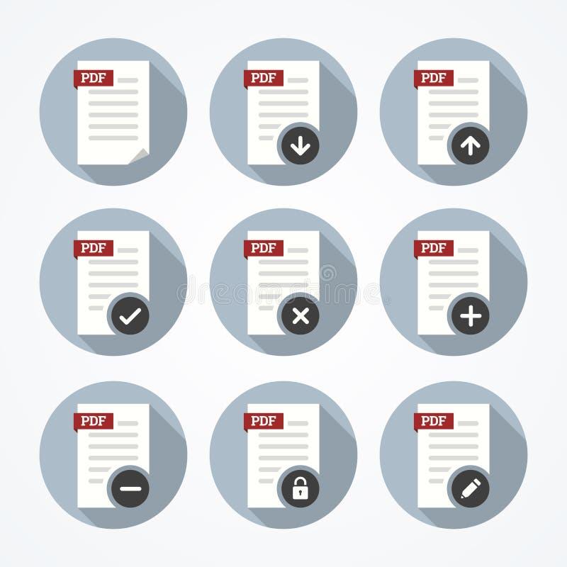 Pdf documents icons set. Pdf documents icons set in flat style stock illustration