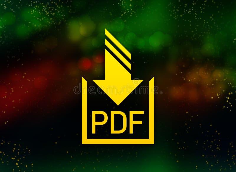 Pdf-Dokumentendownloadikonenzusammenfassung bokeh dunkler Hintergrund vektor abbildung