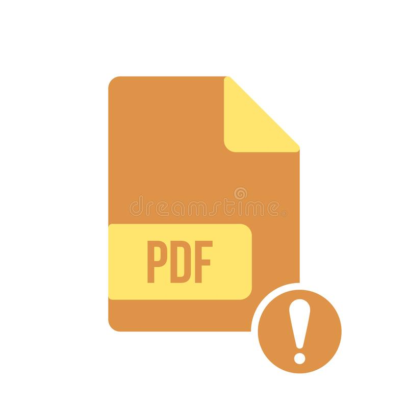 Pdf-Dokumentenikone, pdf-Erweiterung, Dateiformatikone mit Ausrufezeichen Pdf-Dokumentenikone und Alarm, Fehler, Warnung, Gefahre lizenzfreie abbildung
