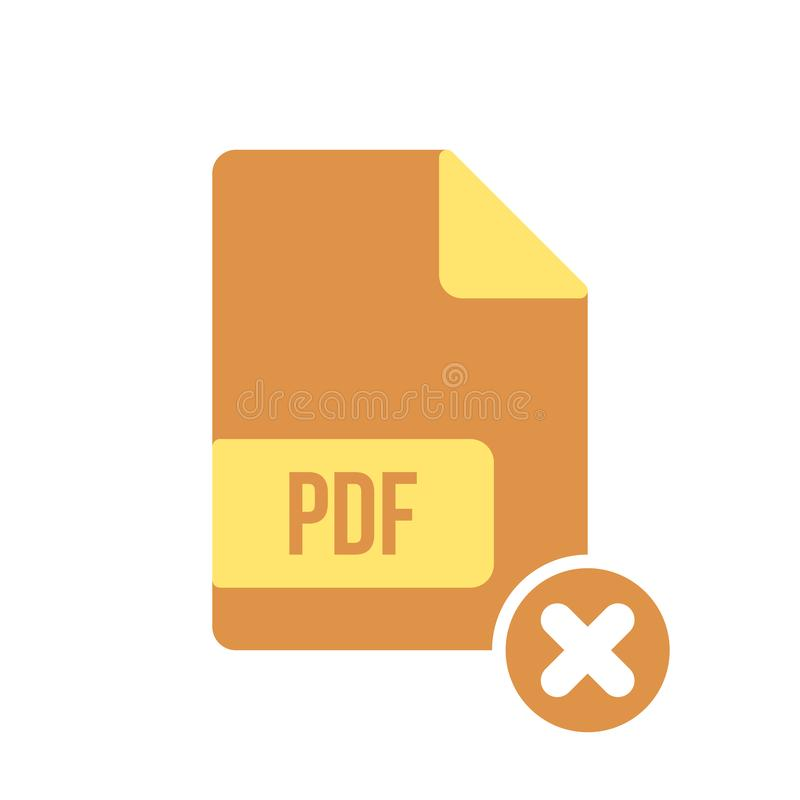 Pdf-Dokumentenikone, pdf-Erweiterung, Dateiformatikone mit Löschenzeichen Pdf-Dokumentenikone und Abschluss, Löschung, entfernen  stock abbildung