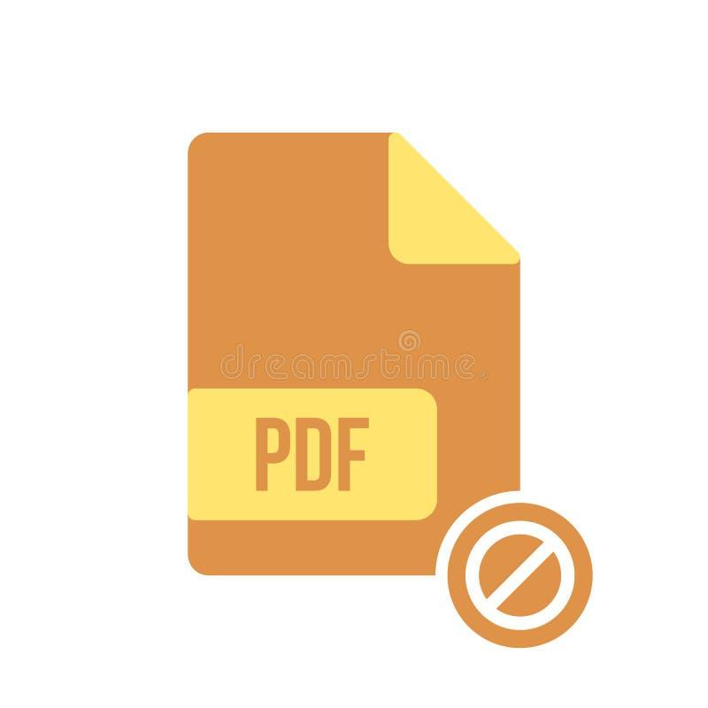 Pdf-Dokumentenikone, pdf-Erweiterung, Dateiformatikone mit nicht erlaubtem Zeichen Die pdf-Dokumentenikone und -block, verboten,  stock abbildung