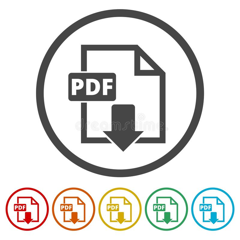 PDF dokumentu cyfrowego formata płaska wektorowa ikona, wektoru pdf ściągania symbol, 6 kolorów Zawierać ilustracja wektor