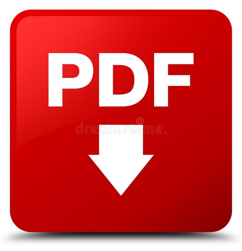 PDF download icon red square button. PDF download icon isolated on red square button abstract illustration stock illustration
