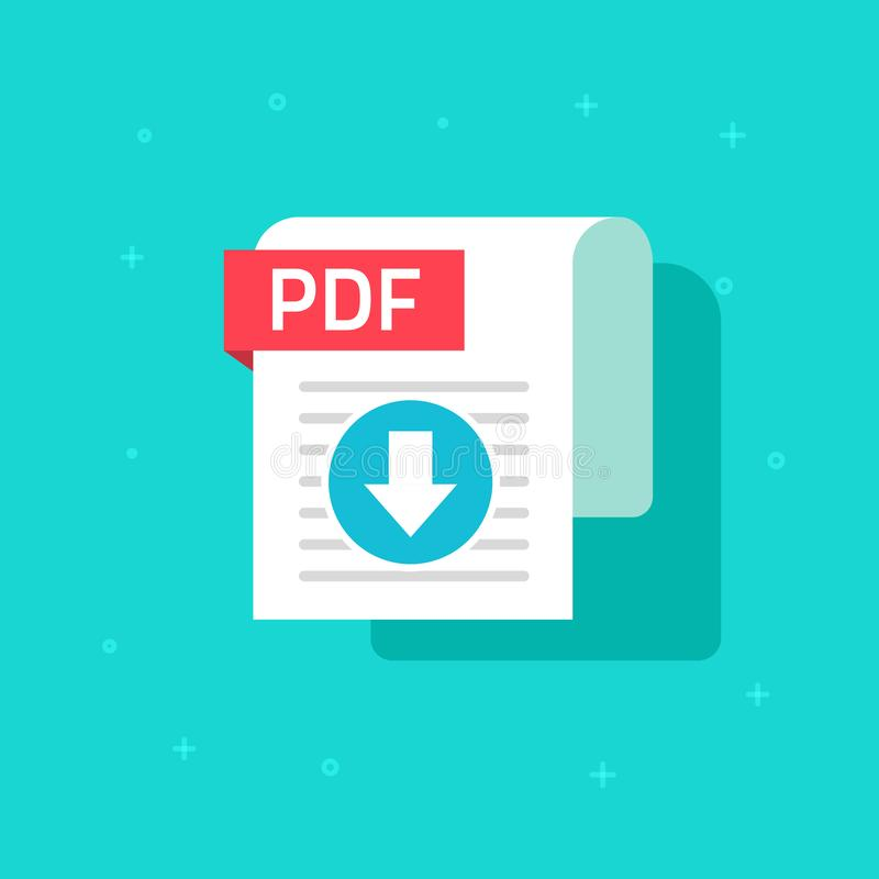 PDF download icon vector symbol, flat text document or file downloading with arrow and paper sheet doc isolated. PDF download icon vector symbol, flat design royalty free illustration