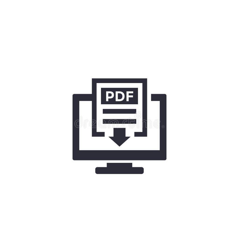 PDF-download met computerpictogram royalty-vrije illustratie