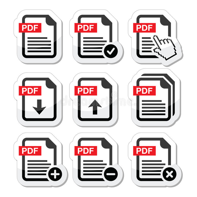 PDF download and upload icons set stock illustration
