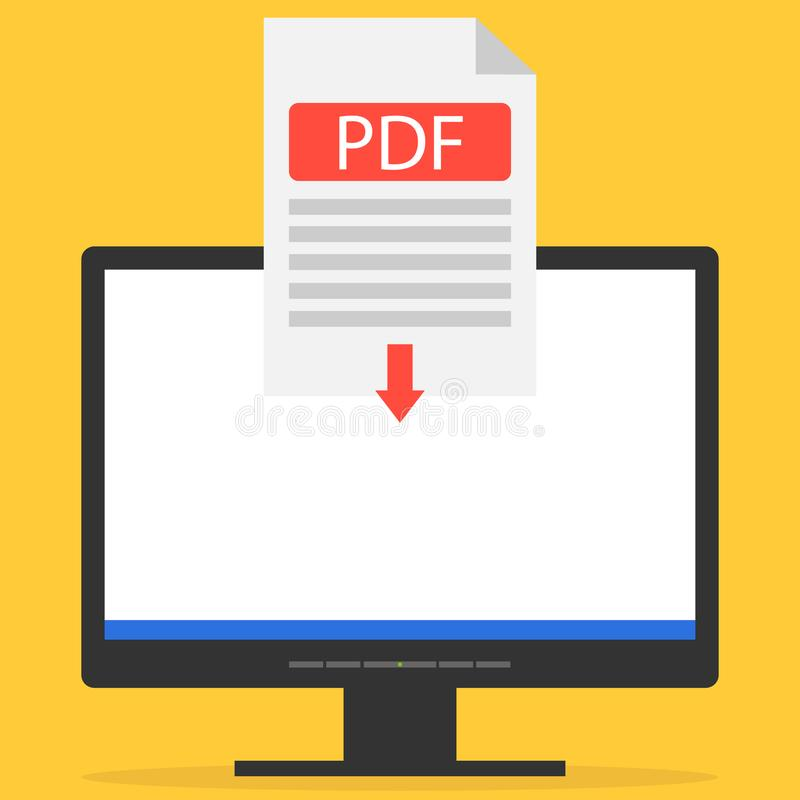 The PDF file is downloaded to the computer. Download the PDF file via the Internet. Flat design, illustration stock illustration