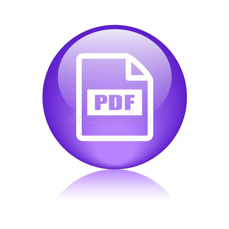 Pdf file format icon. Web button - vector illustration on isolated white background with reflection shadow royalty free illustration