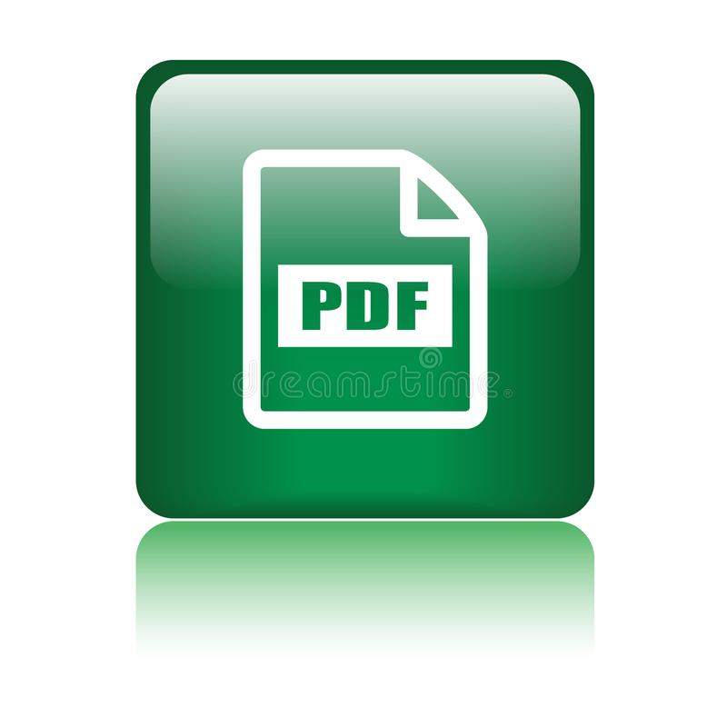 Pdf file format icon. Web button - vector illustration on isolated white background with reflection shadow vector illustration