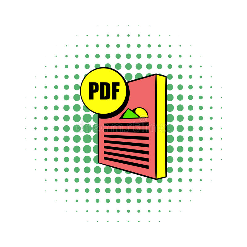 PDF file icon in comics style. On a white background stock illustration
