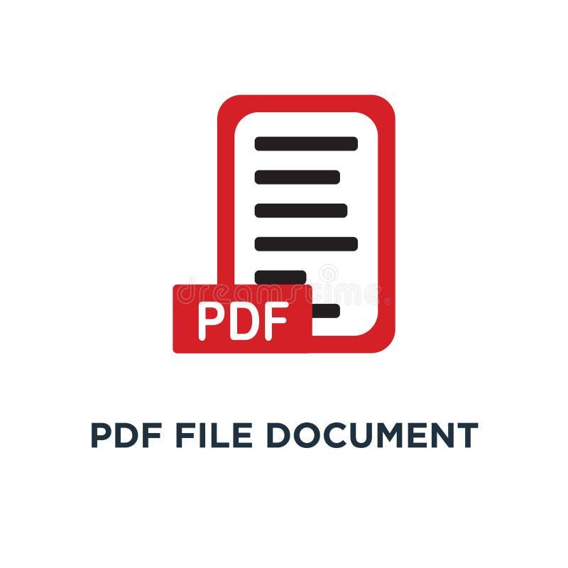 PDF-het pictogram van het dossierdocument het conceptensymbool van de downloadpdf knoop desig royalty-vrije illustratie