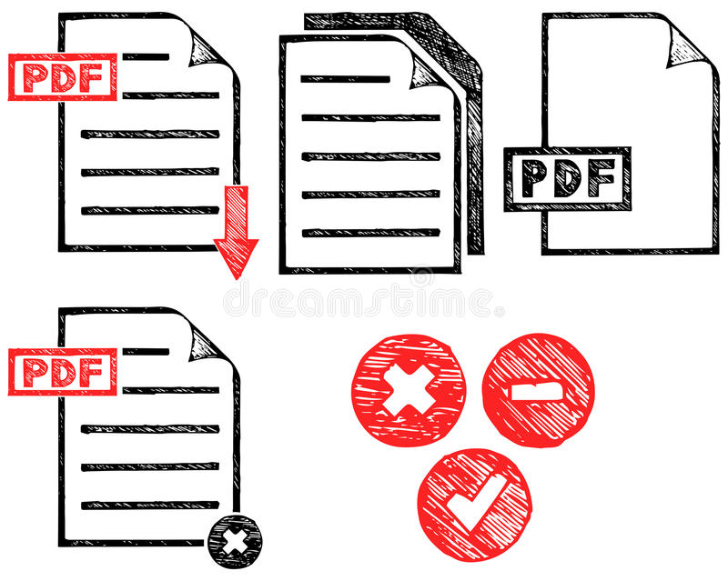 PDF icon. Doodle style. Vector royalty free illustration