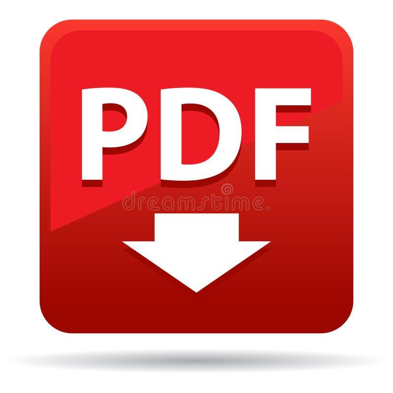 Pdf icon red square button stock illustration