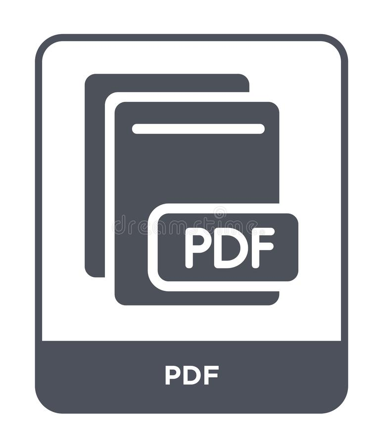 Pdf icon in trendy design style. pdf icon isolated on white background. pdf vector icon simple and modern flat symbol for web site. Mobile, logo, app, UI royalty free illustration