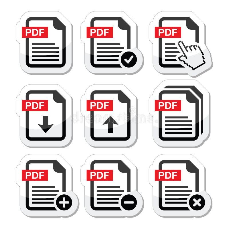 Pdf-nedladdningen och laddar upp symbolsuppsättningen stock illustrationer