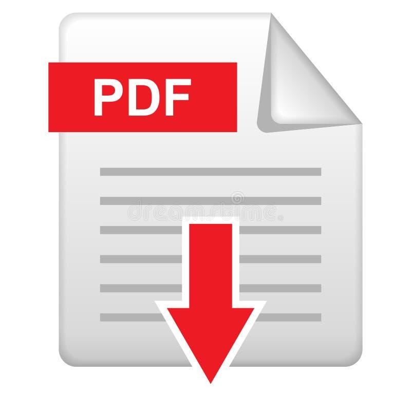 Pdf-nedladdningsymbol på vit stock illustrationer