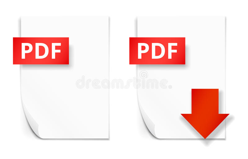 PDF paper sheet icons. PDF icons, empty paper sheet and download button, vector illustration royalty free illustration