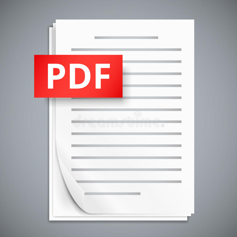 PDF paper sheet icons. PDF icons, stack of paper sheets, vector illustration royalty free illustration