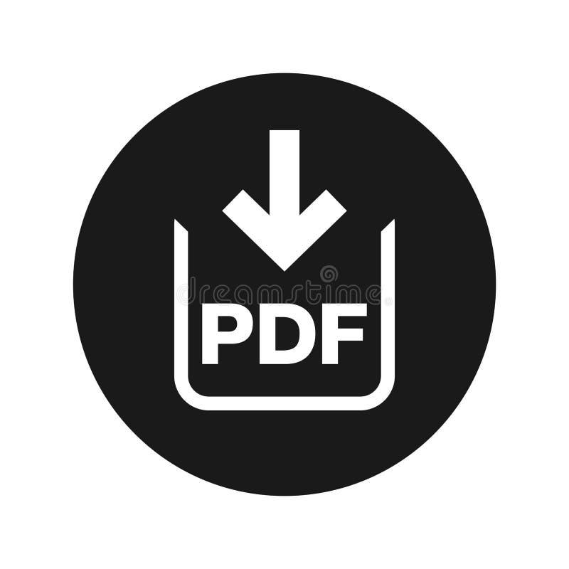 PDF-van de het pictogram de vlakke zwarte ronde knoop van de documentdownload vectorillustratie vector illustratie