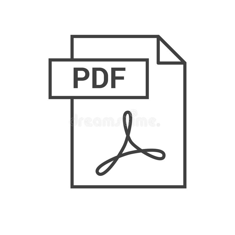 PDF Vector Icon. PDF File Icon. Thin Line Vector Illustration. Expand to any Size - Easy Change Colour royalty free illustration