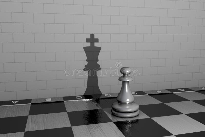 Peão de xadrez com ilustração 3D com a sombra de uma rainha ilustração stock