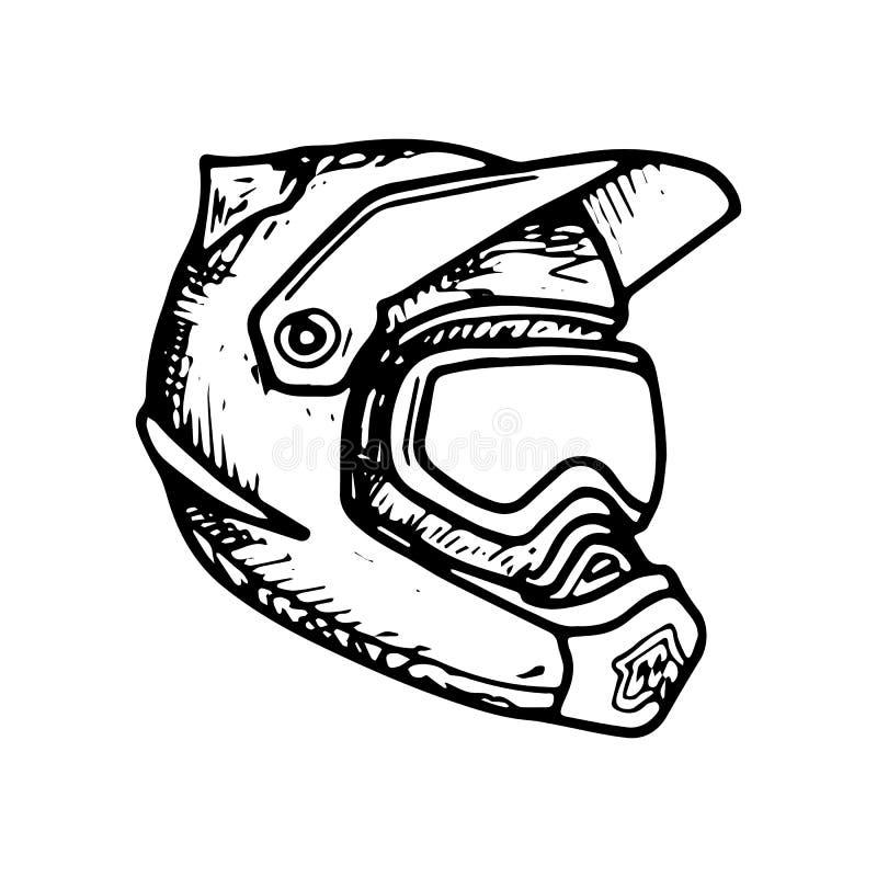 Pełnej twarzy hełm Motocross, Zjazdowy, MTB, hemet Wektorowy nakreślenie royalty ilustracja
