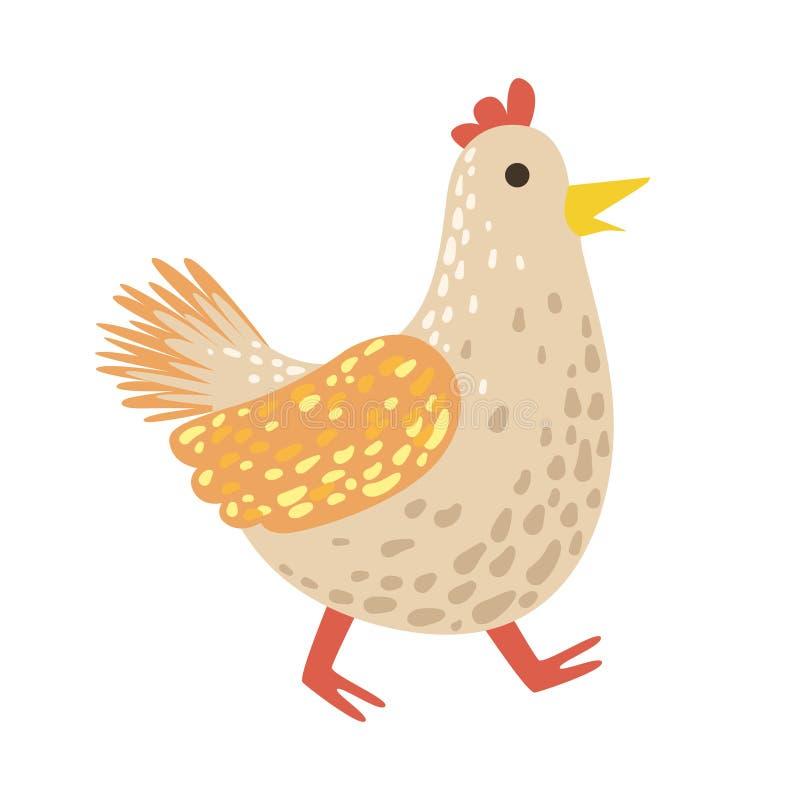 Peça bonito de Toy Animal With Detailed Elements da galinha da coleção da fauna de etiquetas criançolas do vetor ilustração royalty free
