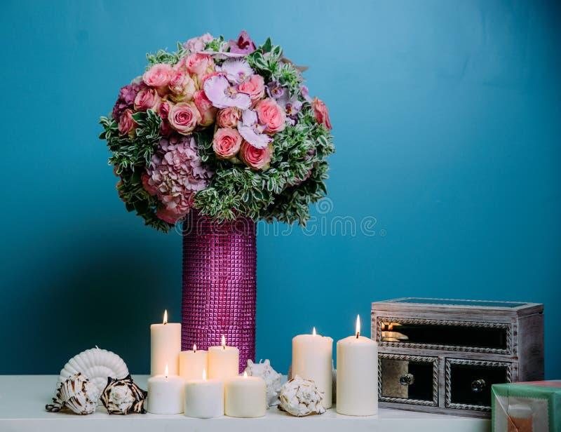 Peça central nupcial do casamento fotografia de stock