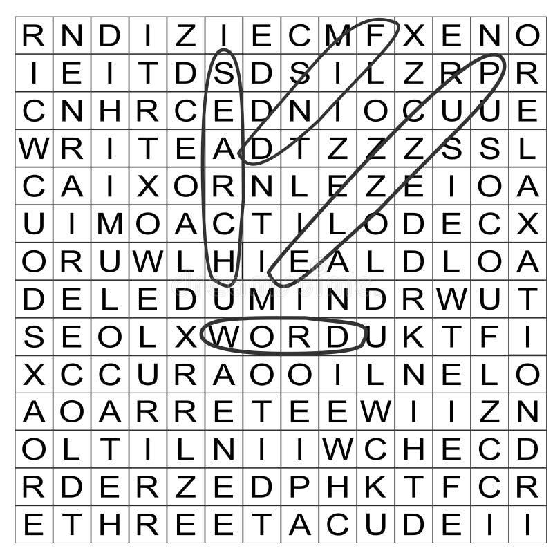 Peça da grade do enigma da busca da palavra do vetor terminada com palavras circundadas imagens de stock royalty free
