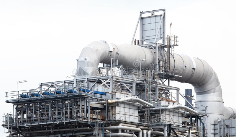 Peça da máquina da planta de refinaria de petróleo fotografia de stock