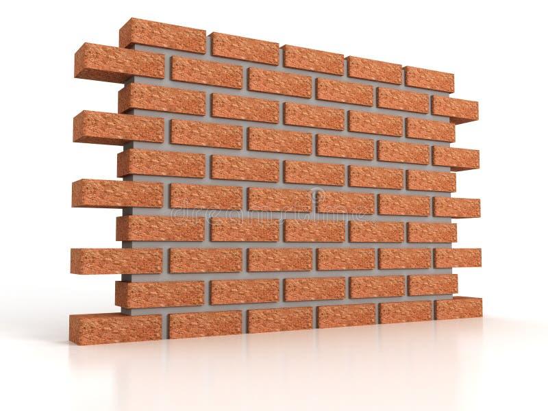 Peça da parede de tijolo no fundo branco ilustração do vetor