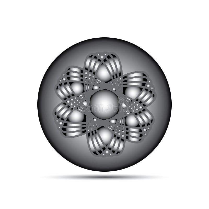 Peça do átomo no bakground branco. ilustração stock